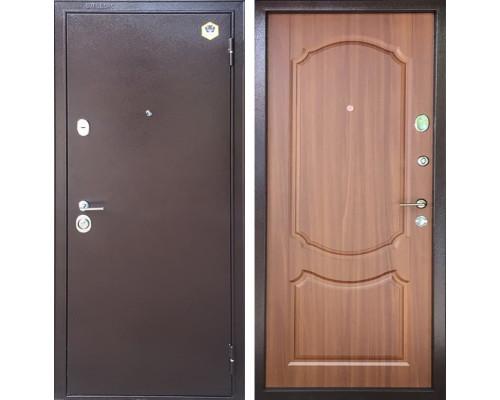 Входная металлическая дверь Бульдорс 14 В-1 (Медный антик / Орех Лесной)