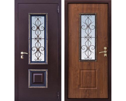 Входная уличная дверь с окном и ковкой Ажур