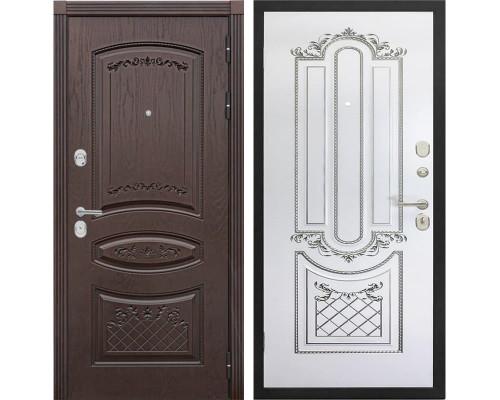 Входная металлическая дверь Сенатор Венеция К-4 (Дуб коньяк / Белый с патиной серебро)