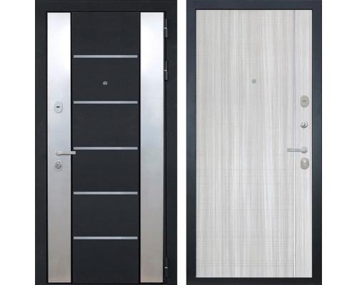 Входная металлическая дверь Интекрон Вельс L-5 (Черный металлик / Сандал белый)