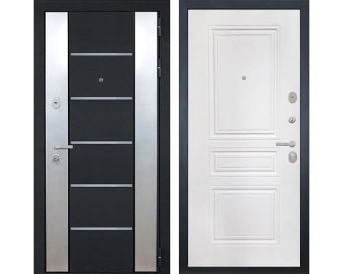 Входная металлическая дверь Интекрон Вельс ФЛ-243-М (Черный металлик / Белый матовый)