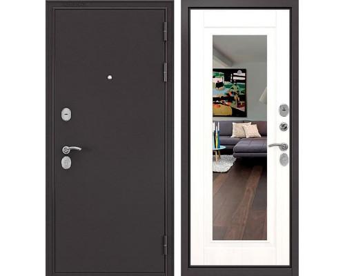 Входная металлическая дверь Бульдорс Комбат Зеркало (Букле шоколад / Ларче бьянко)