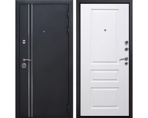Входная металлическая дверь Квадро Лайн Версаль (Искра черная / Белый)