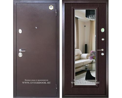 Входная металлическая дверь Бульдорс 14-Т с зеркалом (Медный антик / Венге)