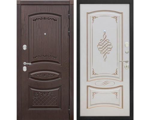 Входная металлическая дверь Сенатор Венеция К-11 (Дуб коньяк / Ваниль с патиной перламутр)