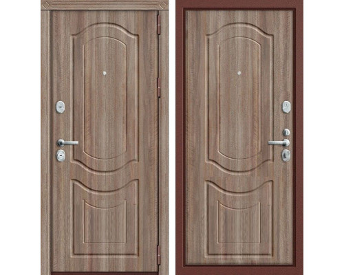 Дверь входная металлическая Groff P3-300 П-1 (Орех темный / Орех темный)