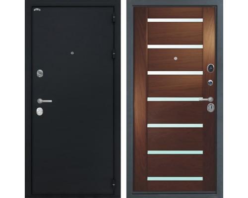 Входная стальная дверь Интекрон Греция Фоджа Багет Шпон (Чёрный шелк / Дуб бургундский)
