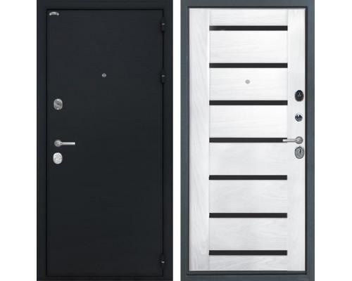 Входная стальная дверь Интекрон Греция Фоджа Багет Шпон (Чёрный шелк / Ясень жемчуг)