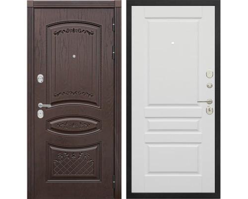Входная металлическая дверь Сенатор Венеция Т-4 (Дуб коньяк / Эмаль белая)