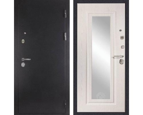 Входная металлическая дверь Дива МД-26 с зеркалом (Антик серебро / Дуб белёный)