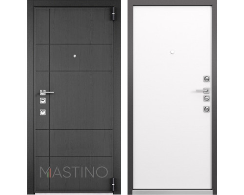 Входная металлическая дверь Mastino Forte (Синхропоры графит MS-114 / Реалвуд молочный MS-100)