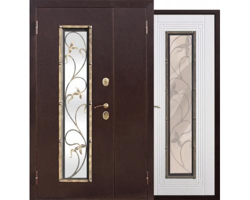 Входная дверь со стеклопакетом и ковкой Плющ 1200-1300х2050 (Антик медь / Ясень белый)