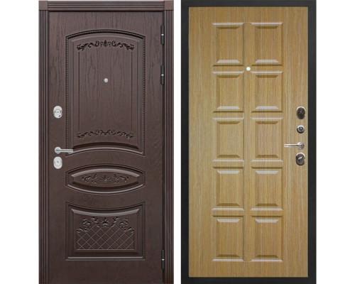 Входная металлическая дверь Сенатор Венеция Т-13 (Дуб коньяк / Дуб)