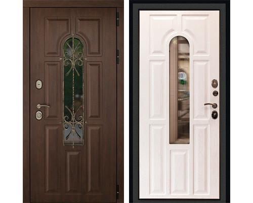 Входная уличная дверь ДК Лион 3К с окном и ковкой (Орех тёмный / Альберо браш)
