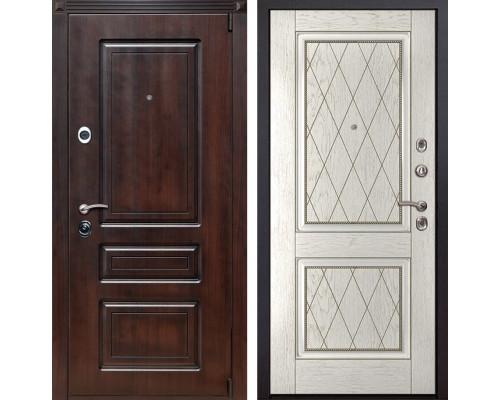 Входная металлическая дверь Неаполь 72 (Вишня тёмная / Капучино)