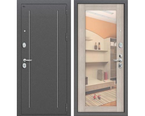 Дверь входная металлическая Groff T2-220 с зеркалом (Серебро антик / Cappuccino Veralinga)