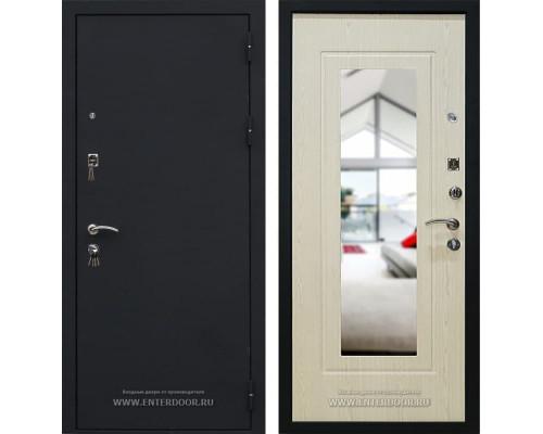 Входная дверь Кондор Престиж с зеркалом (Черный шелк / Белёный дуб)