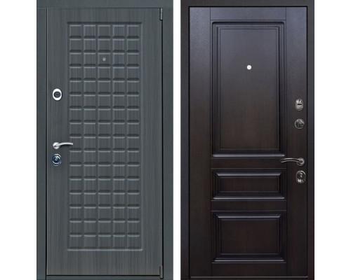 Входная металлическая дверь Мадрид Неаполь (Дуб серый / Тёмная вишня)