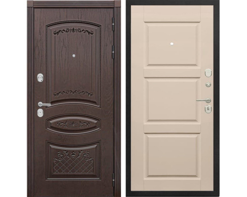 Входная металлическая дверь Сенатор Венеция Т-10 (Дуб коньяк / Эмаль ваниль)