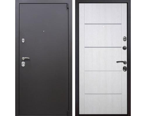 Входная металлическая дверь Квадро Молдинг (Искра коричневая / Белая патина)