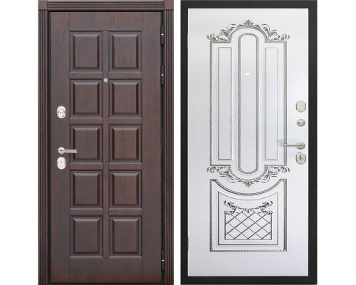 Входная металлическая дверь Сенатор Лондон К-4 (Дуб коньяк / Белый с патиной серебро)
