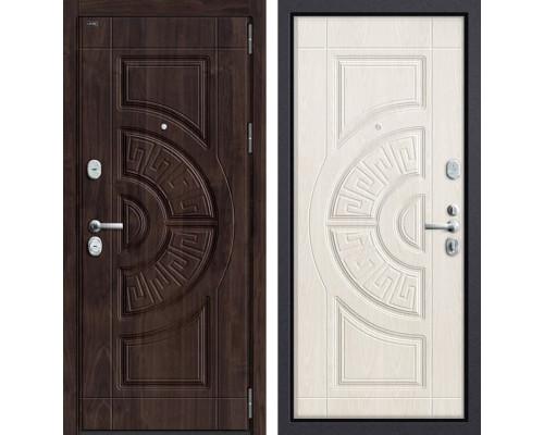 Дверь входная металлическая Groff P3-302 П-25 (Темная Вишня / Дуб беленый)