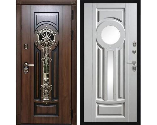 Входная уличная дверь Византия с окном и ковкой (Алмон 28 / Белый)