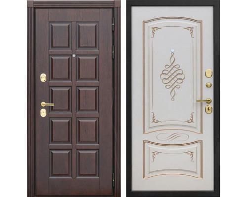 Входная металлическая дверь Сенатор Лондон К-11 (Дуб коньяк / Ваниль с патиной перламутр)
