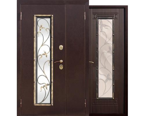 Входная дверь со стеклопакетом и ковкой Плющ 1200-1300х2050 (Антик медь / Венге)