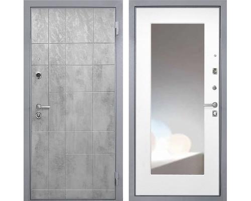 Входная дверь Интекрон Спарта Грей с зеркалом (Бетон темный / Белая матовая)
