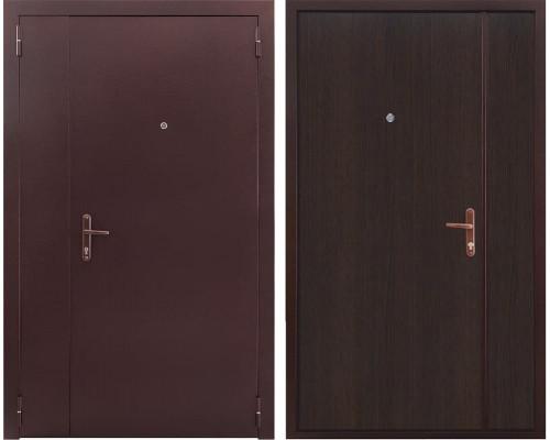 Тамбурная металлическая двухстворчатая дверь (Антик медный / Венге)