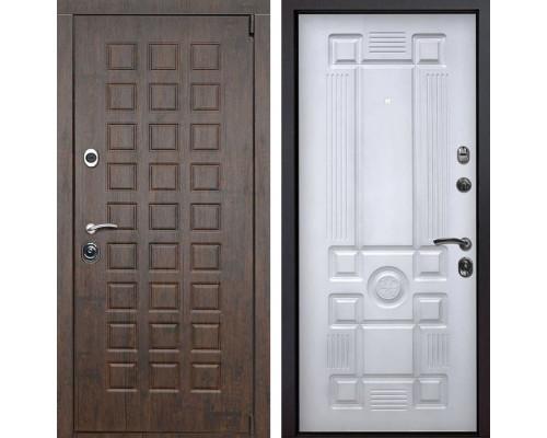 Входная металлическая дверь Верона Рим (Тиковое дерево / Белый с патиной)