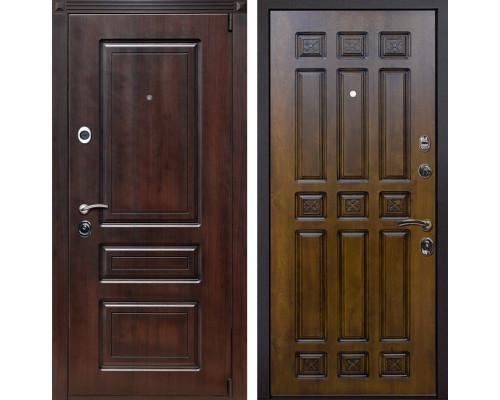 Входная металлическая дверь Неаполь Палермо (Вишня тёмная / Золотой дуб)