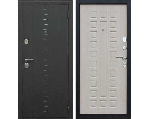 Входная металлическая дверь АСД Агата-3 (Муар чёрный / Белёный дуб)