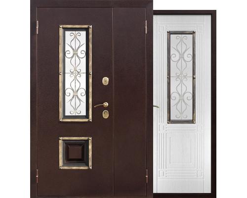 Входная дверь со стеклопакетом и ковкой Венеция 1200-1300х2050 (Антик медь / Ясень белый)