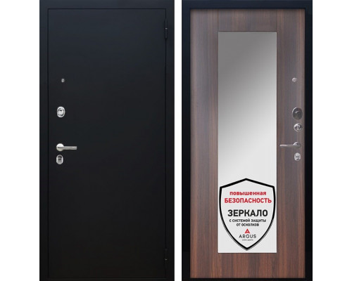 Входная металлическая дверь Аргус Люкс ПРО Милли с Зеркалом (Чёрный шелк / Коньяк калифорния)