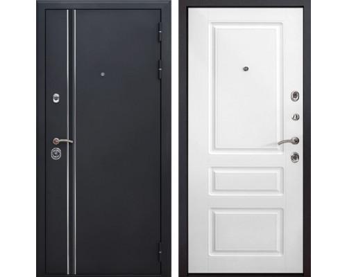 Входная металлическая дверь Квадро Лайн Неаполь (Искра черная / Белый)