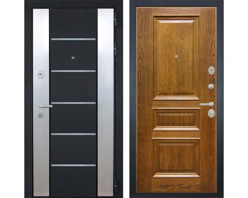 Входная металлическая дверь Интекрон Вельс Валентия-2 Шпон (Чёрный металлик / Дуб бренди)