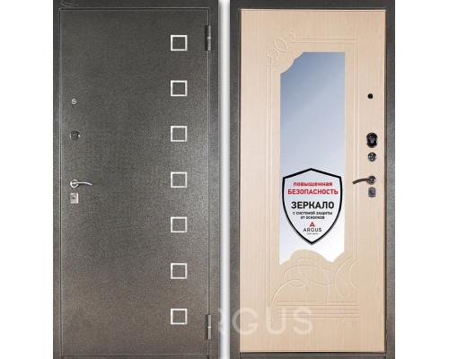 Входная металлическая дверь с зеркалом Аргус ДА-8 Даллас (Серебро антик / Беленый дуб)
