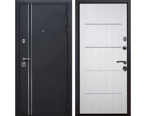 Входная металлическая дверь Квадро Лайн Молдинг (Искра черная / Белая патина)