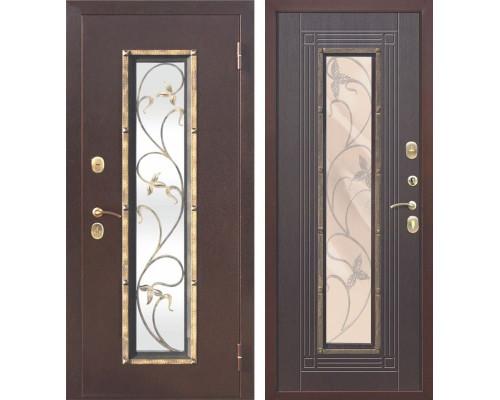 Входная дверь со стеклопакетом и ковкой Плющ (Антик медь / Венге)