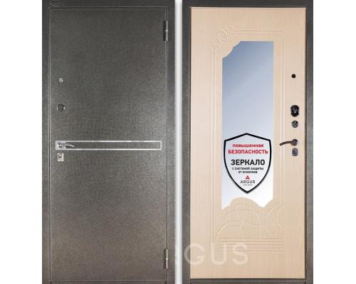 Входная металлическая дверь с зеркалом Аргус ДА-8 Франк (Серебро антик / Беленый дуб)