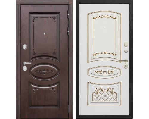 Входная металлическая дверь Сенатор Верона К-3 (Дуб коньяк / Белый с патиной золото)