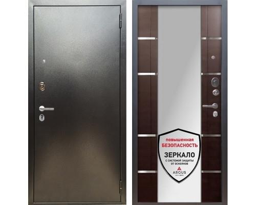 Входная металлическая дверь Аргус Люкс ПРО Самсон с Зеркалом (Серебро антик / Венге)