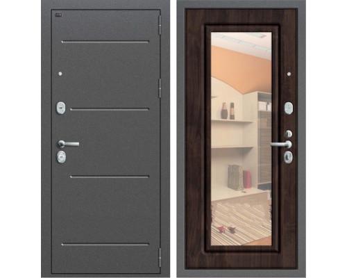 Дверь входная металлическая Groff P2-206 с зеркалом (Темная вишня)