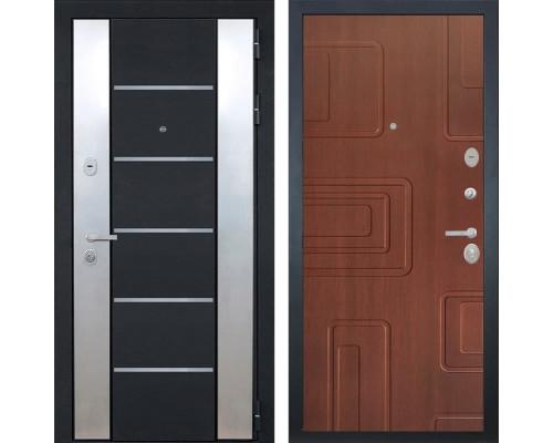 Входная металлическая дверь Интекрон Вельс Элит (Чёрный металлик / Лиственница кофе)