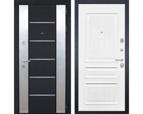 Входная металлическая дверь Интекрон Вельс Валентия-2 Шпон (Чёрный металлик / Ясень жемчуг)