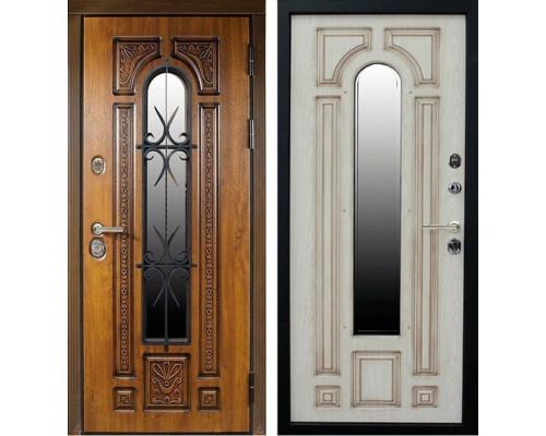 Входная уличная дверь Сударь Рим с окном и ковкой (Голден Оак Винорит / Алмон 28)
