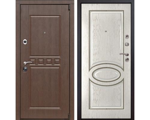 Входная металлическая дверь Сарбона 70 (Орех патина / Капучино)