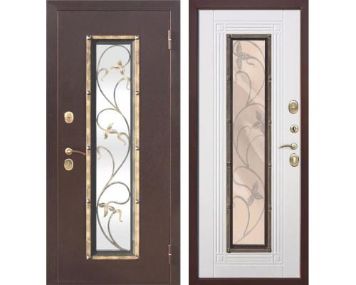 Входная дверь со стеклопакетом и ковкой Плющ (Антик медь / Ясень белый)